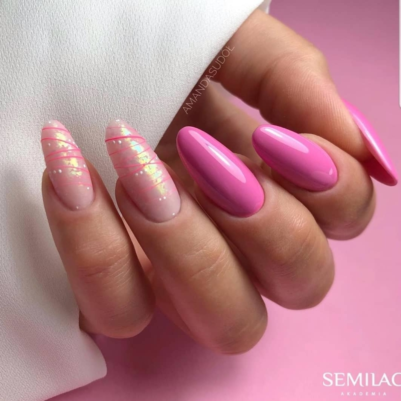 049 Semilac Uv Hybrid gél lakk True Pink 7ml