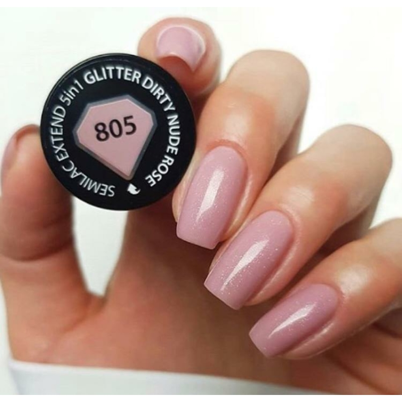 805 Semilac Extend 5in1 - Glitter Dirty Nude Rose  7ml