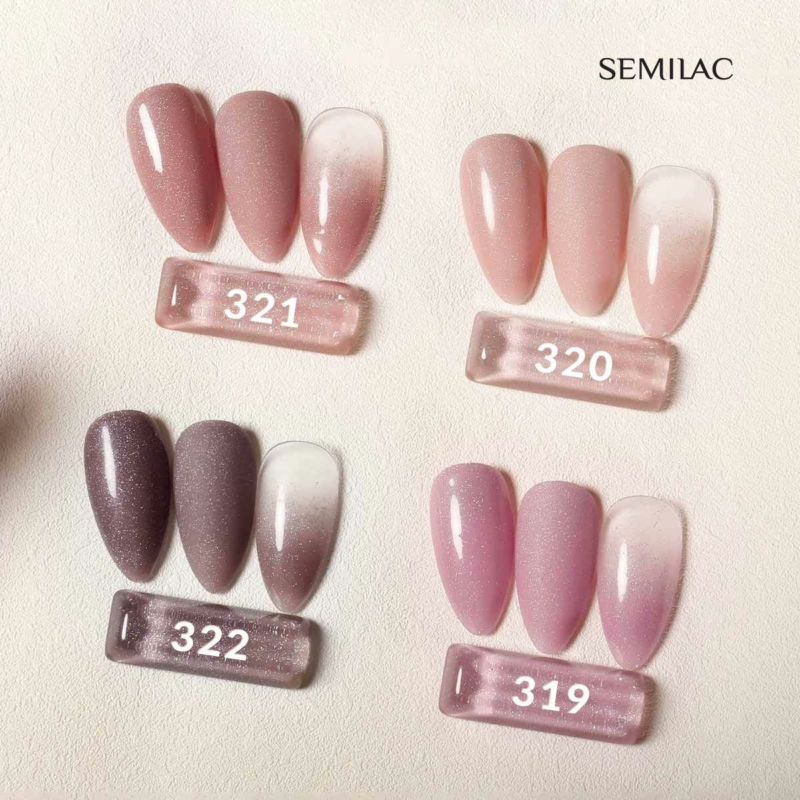 319 Semilac Uv Hybrid gél lakk - Shimmer Dust Pink  7ml