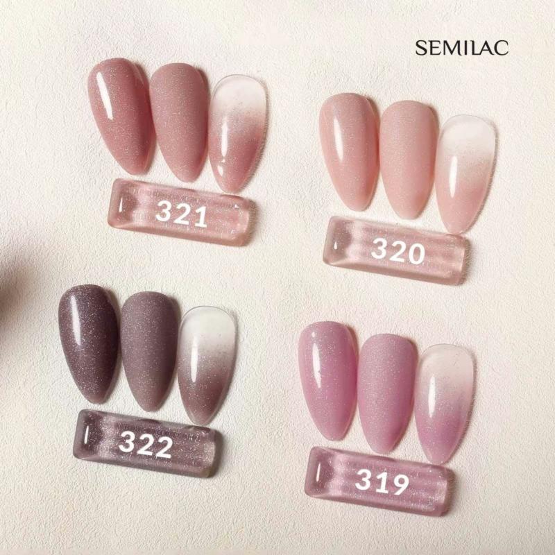 321 Semilac Uv Hybrid gél lakk - Shimmer Dust Caramell  7ml
