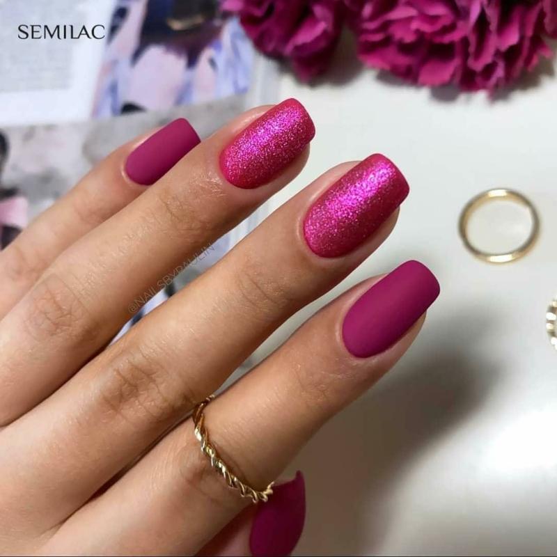 348 Semilac Uv Hybrid gél lakk Charming Ruby Glitter  7ml
