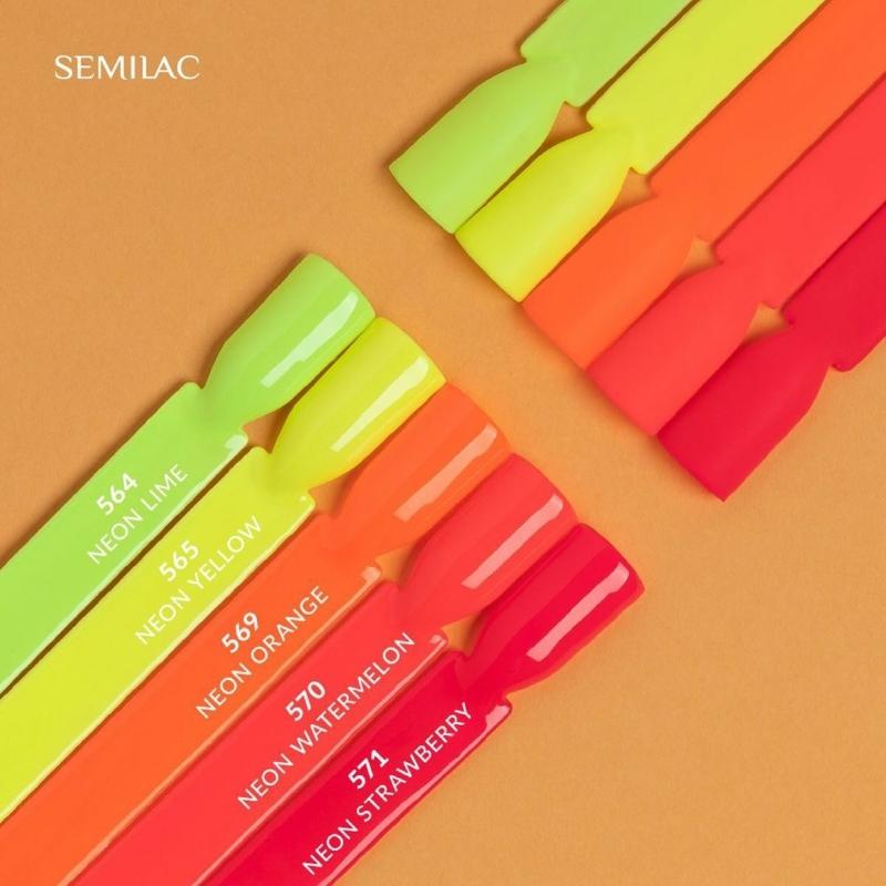 569 Semilac Uv Hybrid gél lakk Neon Orange 7ml